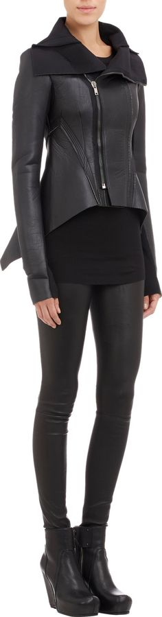 Rick Owens Leather & Neoprene Naska jacket