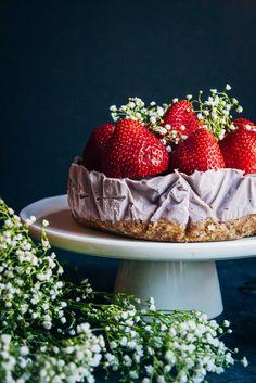Blood Orange Raspberry Cheesecake | Well and Full | #vegan #recipe
