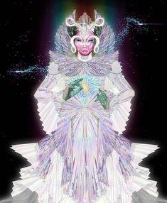 gucci robe alessandro michele bjork clip the gate 3d Printed Mask, Concept Models Architecture, Alien Life Forms, Black Mage, Conceptual Fashion, Magic Women, Bjork, 3d Laser, Cyberpunk Art