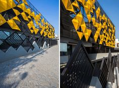 These two older buildings were wrapped in an artistic screen to give them a new unified look
