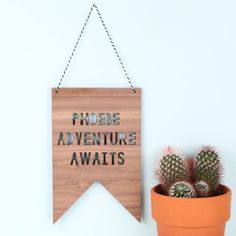 Looking for Personalised Home Accessories? This Handmade 'Adventure Awaits' Hanging Wooden Sign is perfect! Lisa Angel offers Free Worldwide Delivery.