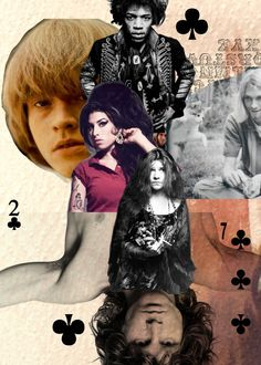 27 club collage with playing cards Classic Rock And Roll, Rock N Roll, Brian Jones Rolling Stones, Hard Rock, Rock Cover, Nirvana Kurt Cobain, Old School Music, Janis Joplin, Jim Morrison