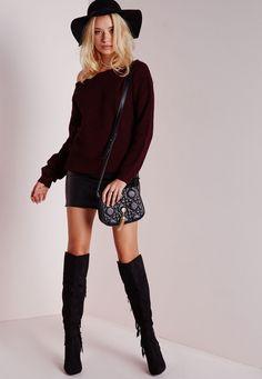 Missguided - Ophelita Off Shoulder Knitted Jumper Wine