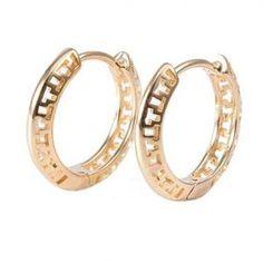 18K Yellow Gold Plated Aztec Huggie Hoop Ladies Earrings 16mm