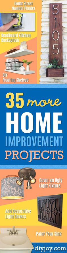 DIY Home Improvement Projects On A Budget - Cool Home Improvement Hacks, Easy and Cheap Do It Yourself Tutorials for Updating and Renovating Your House - Home Decor Tips and Tricks, Remodeling and Decorating Hacks - DIY Projects and Crafts by DIY JOY Diy Projects On A Budget, Diy Projects Cans, Diy On A Budget, Home Projects, Budget Plan, Best Hacks, Hacks Diy, Tips And Tricks, Floating Shelves Diy