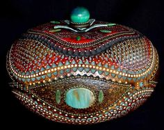 Very large canteen gourd with gemstones and chain embellishments