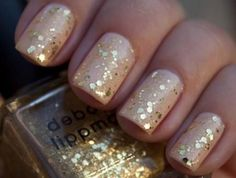 nude with gold sparkles