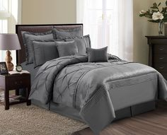 8-Piece Aubree Pinched Pleat Gray Comforter Set