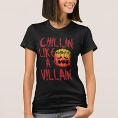Halloween Chillin Like A Villain Pumpkin T-Shirt - diy cyo customize create your own personalize