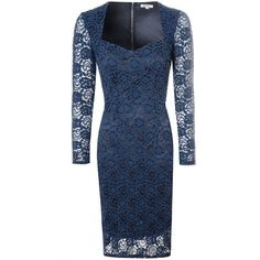 Alice & You Sweetheart Lace Dress ($61) ❤ liked on Polyvore featuring dresses, navy, women, blue cocktail dress, bodycon dress, long sleeve dress, navy blue dress and long sleeve cocktail dresses