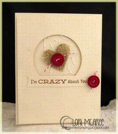 Smiling while Stamping: Crazy About You handmade love/anniversary/valentine card using My Favorite Things For the Record stamp set