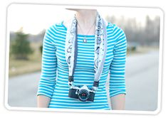 Using a silk scarf as a camera strap. Lovely and super simple to make.