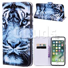 Snow Tiger 3D Relief Oil PU Leather Wallet Case for iPhone 8 Plus / 7 Plus 7P(5.5 inch) - Leather Case - Guuds #guuds #iphone #iphone8 #iphone8plus #case #cover #wallet #purse