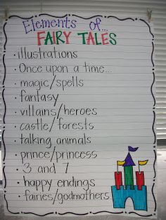 Elements of fairy tales anchor chart