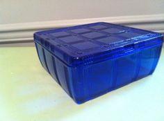 Hazel Atlas Cobalt Blue Criss Cross Large Square Refrigerator Dish RARE