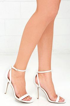 e2e5726e55ff Keep the Lulus Remi White Snakeskin Ankle Strap Heels on hand for parties