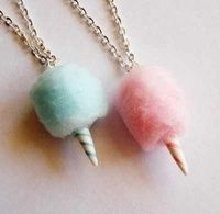 Carnival Cotton Candy Necklace Pink or Blue by FatallyFeminine, Candy Necklaces, Candy Jewelry, Cute Jewelry, Jewlery, Best Friend Necklaces, Best Friend Jewelry, Friendship Necklaces, Doll Food, Pink Cotton Candy