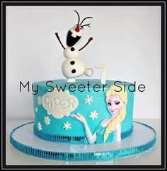Frozen cake - printed Elsa with fondant hair