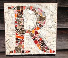 Letter R Monogram Mosaic Plaque by StrappStudioMosaics on Etsy