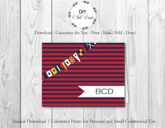 Nautical  Diy Printable Monogram Note Card  You Add Text You