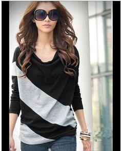 Elegant and Comfortable Diagonal Stripes Long Sleeves Cotton Blends Women's T-ShirtBlouses | RoseGal.com