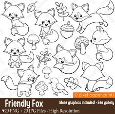 PPP Store - Friendly Fox - Digital stamps - Fox stamps - Line art