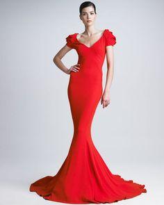 ShopStyle: Zac PosenStretch Crepe Mermaid Gown