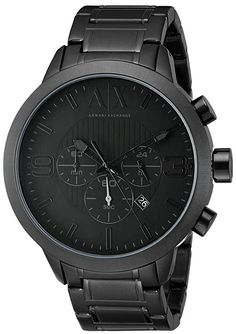 2c639f618263 Armani Exchange Men s Stainless Steel Bracelet Watch Imported Black  stainless steel bracelet watch with dial with tonal hour markers and  subdials 49 mm ...