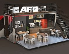 model Shipping Container Cafe Terrace – Home Decoration Container Coffee Shop, Container Shop, Cafe Interior Design, Cafe Design, House Design, Container Home Designs, Shipping Container Cafe, Deco Cafe, Casas Containers