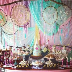 love this boho chic dessert table