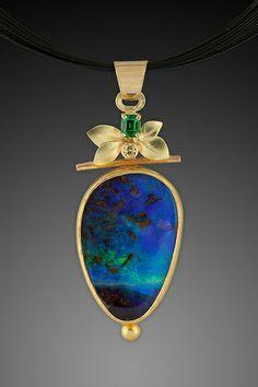 Australian Opal Pendant by Ben Dyer Opal Necklace, Opal Jewelry, I Love Jewelry, Modern Jewelry, Pendant Jewelry, Jewelry Art, Fine Jewelry, Jewelry Necklaces, Jewelry Design