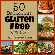 Six Sisters' Stuff: 50 Delicious Gluten Free Recipes. Need for possible guests with a gluten allergy Gluten Free Diet, Foods With Gluten, Gluten Free Cooking, Lactose Free, Gluten Free Menu, Gf Recipes, Dairy Free Recipes, Healthy Recipes, Recipes Dinner