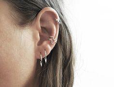 This item is unavailable Tiny silver hoop earrings, teardrop hoop earrings, Gold Bar Earrings, Tiny Stud Earrings, Simple Earrings, Silver Ear Cuff, Gifts, Lobe Piercing, Ear Piercings, Bling Bling, Sterling Silver