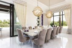 Throw the most extravagant dinner party in this gorgeous dining area: Orlando villa, Reunion Resort 7500 #orlando #contemporary