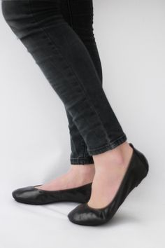 The Drifter Leather handmade shoes — Ballet flats Foldable - Simply Me in Lustrous Black