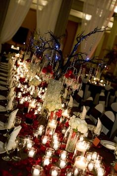 this one is really excessive, but doing just one table like this in a central location (maybe a dessert table) with fewer candles (cheaper if they are floating in bowls of water instead of in individual holders) would be so beautiful and visually fills a reception space! you could even hang small pictures of the two of you from the branches
