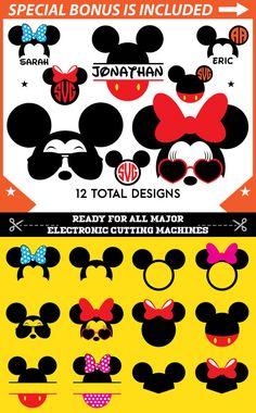 Minnie Ears SVG Files Minnie Mickey Ears Monogram Frame Svg DXF PNG Die cut files designs Minnie Mickey Silhouette Digital Download Clipart