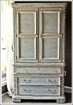 Faux Painting Furniture- It's Easy! French look furniture For ChalkPaint, use Old White over Paris Gray Refurbished Furniture, Repurposed Furniture, Furniture Makeover, Armoire Makeover, Dresser Tv Stand, Dresser With Tv, Chalk Paint Furniture, Furniture Projects, Diy Furniture