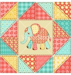 Elephant quilt pattern vector - by nad_o on VectorStock®