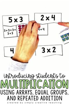 Introducing multiplication to your 2nd and 3rd grade students is fun with these multiplication activities and multiplication centers. For beginners, these fun games and centers for equal groups, repeated addition, arrays, and word problems are designed for students to have a basic understanding of times tables. This resource includes worksheets, printables, and more for multiplication unit!