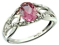 1.37 Carats Pink Tourmaline with White Topaz Sterling Silver Ring available at joyfulcrown.com