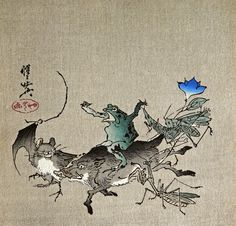 Frog riding on a boar, 1868 by Kawanabe Kyosai