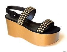 new $875 Giuseppe ZANOTTI black suede ALL STUDDED gold wedges shoes 38.5 8.5