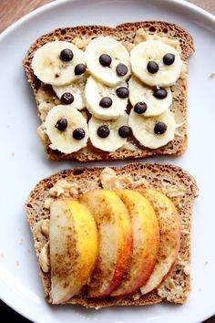 Healthy breakfast idea! Just toast some whole grain bread and top with bananas and blueberries or apples and cinnamon.