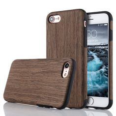 "iPhone 8 Plus iPhone 7 Plus Case (5.5""), Premuim Handmade Fexible Wooden Hybrid TPU Silicone Ultra Slim Back Case, Shock Absorbing Bumper Protective Case Cover (Black Rose Wood)"