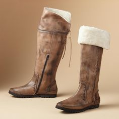 NICOLE BOOTS -- From Italy, handcrafted leather boots, burnished, laced and lush with a faux fur cuff to wear over the knee or not. Rubber sole for sure footing. Whole sizes 6 to 11.