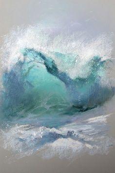 Art pastel painting ocean art painting in 2019 акваре Seascape Paintings, Landscape Paintings, Pastel Paintings, Indian Paintings, Watercolor Landscape, Landscapes, Image Zen, Art Pastel, Wave Art