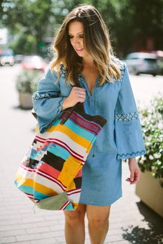 @bohostylefile taking on Labor Day Weekend like a boss in our Amara Dress and Fortaleza Tote! #mylovestitch #lovestitch #bohostyle