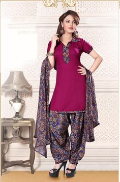 Maroon with multi color #cottonsalwarkameez  comes with chiffon dupatta.