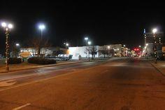 Noble Street on a Christmas season night.